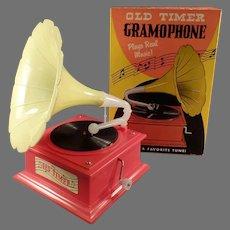 Vintage Old-Timer Gramophone Toy Music Box in Original Box