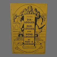 Vintage Book - More Dialogues, Duologues & Monologues – Mary Debenham, Early 1900's