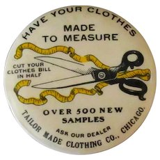 Vintage Celluloid Advertising Mirror – Tailor Made Clothing with Nice Graphics