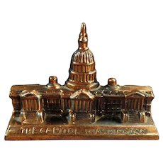 Small Vintage Desktop Paperweight of The Capitol Building in Washington D.C.