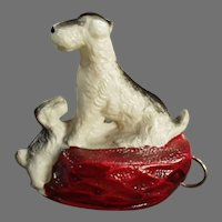 Vintage Figural Celluloid Dog Tape Measure - Terrier and Little Puppy