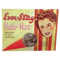Unopened Vintage Ever-Stay Hair Net Package with Nice Graphics
