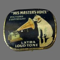 Vintage Needle Tin - Empty His Master's Voice Phonograph Needle Tin with the Nipper Logo