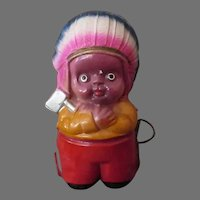Vintage Celluloid Tape Measure – Colorful Indian Boy with Tomahawk