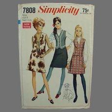 #7808 1960's Simplicity Pattern - Mod Skirt & Vest - Vintage Misses 8