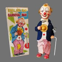 Vintage Wind Up Toy - Smiling Sam the Carnival Man Clown with Partial Box