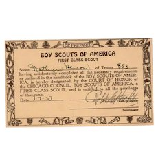 Vintage Boy Scouts of America - 1933 First Class Scout Card - Chicago Council