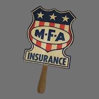 Vintage MFA Insurance Advertising Paper Fan
