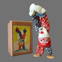 Vintage Celluloid Clown, Walking on Hands Wind Up Toy with Original Box