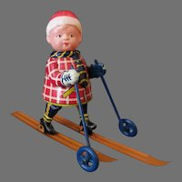 Vintage Tin and Celluloid, Occupied Japan Wind Up Toy – Cross Country Skier