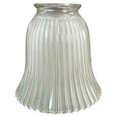 Single, Frosted Vintage Light Shade - Zipper Pattern Glass
