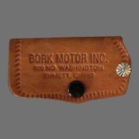 Vintage Leather Car Key Case with GMC Pontiac Automotive Advertising