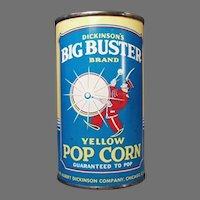 Unopened Vintage Popcorn Tin - Big Buster Pop Corn Tin - Albert Dickson Company