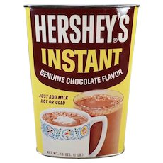 Hershey Instant Cocoa Vintage Tin - Colorful Hot Chocolate Advertising Tin