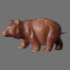 Vintage Figural Celluloid Tape Measure - Walking Brown Bear - Japan