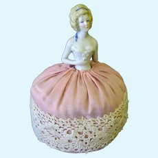 Vintage Porcelain Half Doll with Curled Blonde Hair - Pincushion Doll