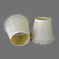 Vintage Clamp-On Lamp Shades, Pair – Fabric Over Plastic with Ruffled Edge