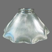 """Single 2 1/4"""" Vintage Light Shade - Close Ribbed Pattern with Scalloped Edge"""