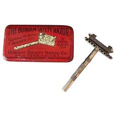 Vintage Burham Safety Razor with Original Colorful Advertising Tin