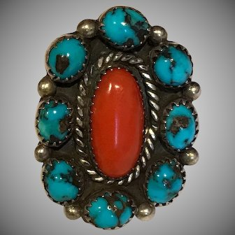 Lovely Large Southwestern Coral and Turquoise Ring