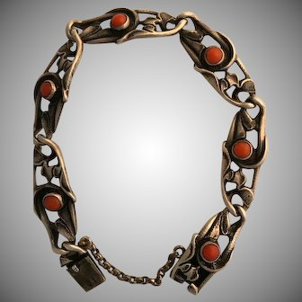 Wonderful Arts and Crafts Sterling and Coral Bracelet