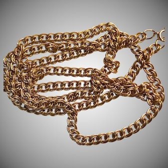 Lovely Long Gold Filled Vintage Fancy Curb Link Chain