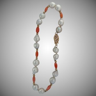 Very Nice 14k Coral and Freshwater Pearl Bracelet