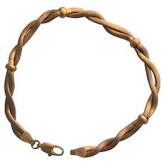 Lovely Estate Vintage 14K Twisted Snake Bracelet with Bead Stations