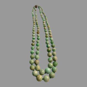 Lovely Vintage Jadeite Jade Double Strand Beads