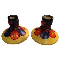 Highly Collectible Mrazek Chech Pottery Candlesticks Pair