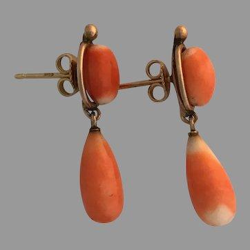 Elegant Victorian 14K Coral Drop Earrings