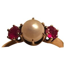 Lovely 14k Late Victorian/Edwardian Pearl and Ruby Ring