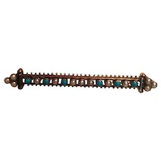 Early Victorian Turquoise and Seed Pearl Stick Pin