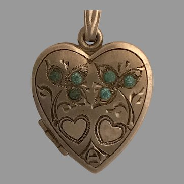 Very Sweet Vintage Sterling Heart Locket with Aqua Pastes