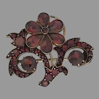 Beautiful 1920's Garnet Silver Floral Spray Pin