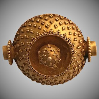 Rare 18k Victorian Etruscan Revival Pin