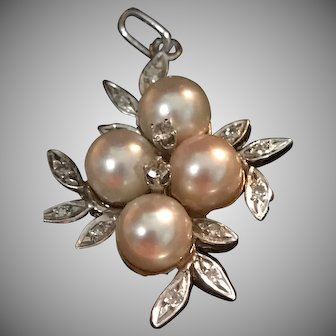 Beautiful 14k Art Nouveau Pearl and Diamond Pendant