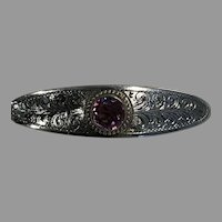 Art Nouveau Sterling and Amethyst Bar Pin