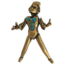 Unusual Vintage Articulated Figural Pin