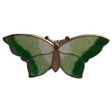 Lovely Sterling Vintage Enamel Butterfly Pin