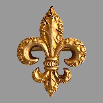 Gold Filled Fleur-di-Lis Repousse Watch Pin