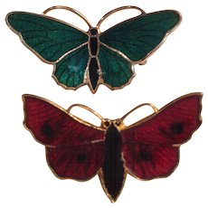 Pair of Vintage Enamel Butterfly Pins