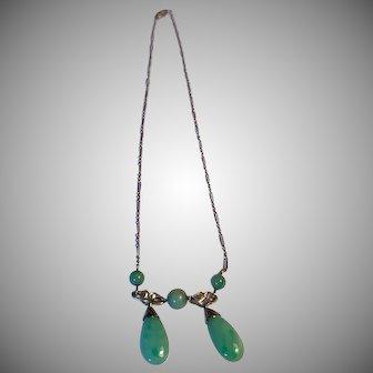 Vintage 1920's Fine Jadeite 14K gold Necklace/Lavaliere