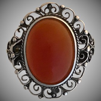 Lovely Old Sterling Carnelian Filagree Ring