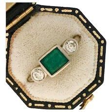Lovely Estate Emerald and Diamond Three Stone Ring