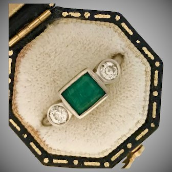 Lovely Estate Emerald and Diamond Three Stone Ring