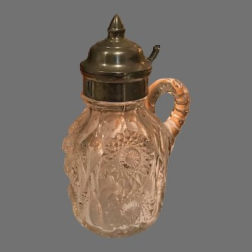 Beautiful and Unusual Early American Pressed Glass Syruper