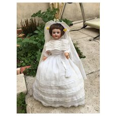 Cute unis France french bisque doll on candy box