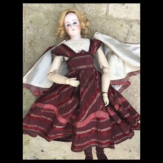 Antique dress and cape for French fashion bisque doll size 6