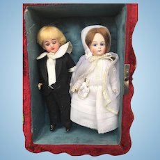 Wonderful French bisque mignonette dolls in box